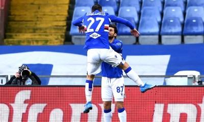 Esultanza Quagliarella Candreva Sampdoria