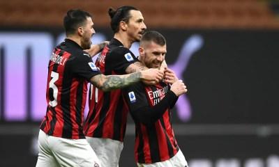 esultanza gol Romagnoli Ibrahimovic Rebic Milan