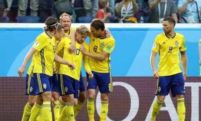 Esultanza gol Forsberg Svezia