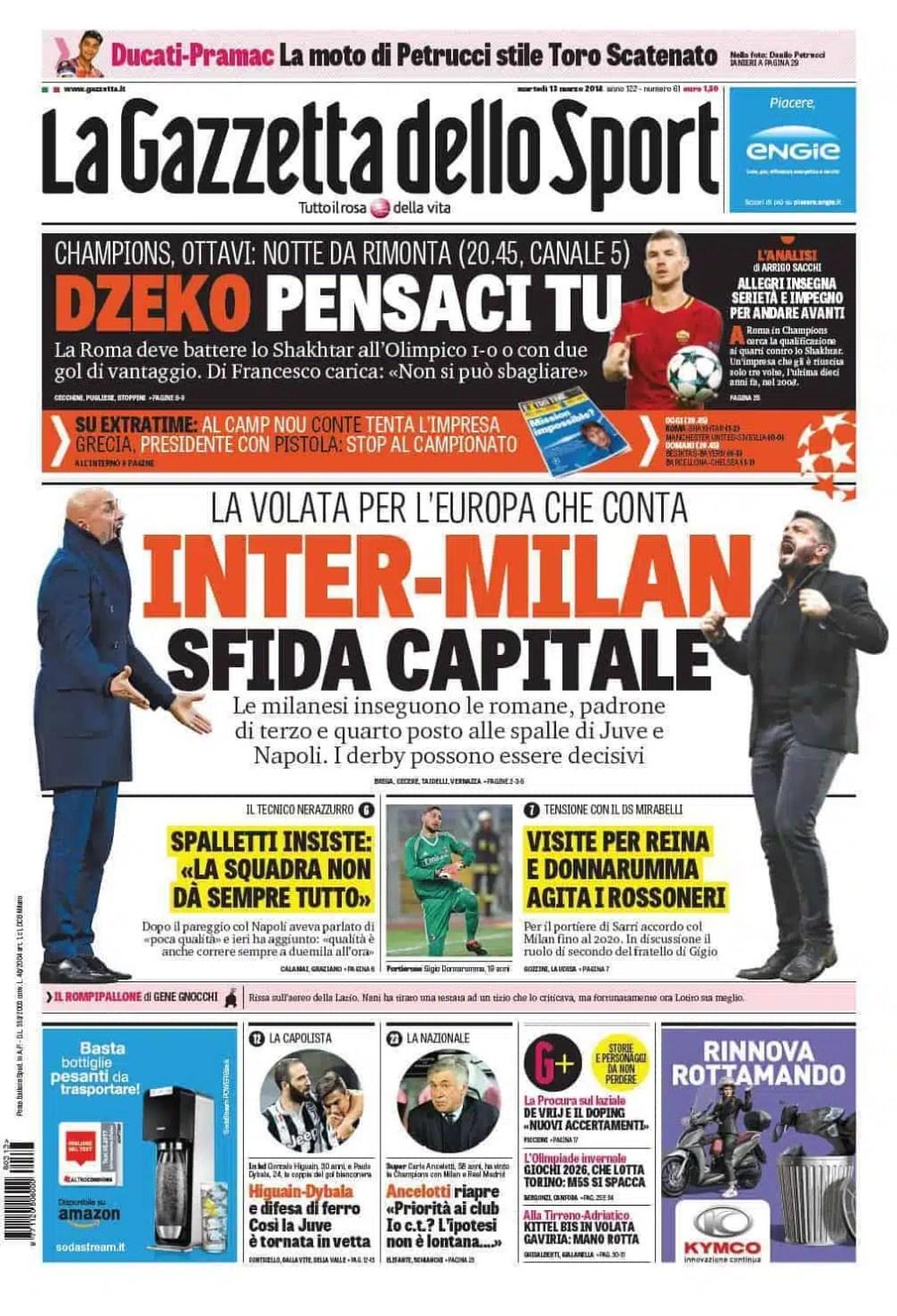 prima pagina gazzetta 13 marzo