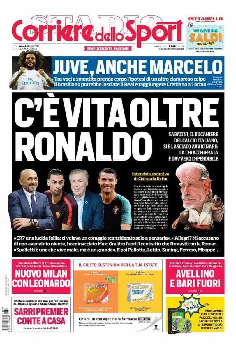 prima pagina corriere dello sport venerdì 13 luglio 2018