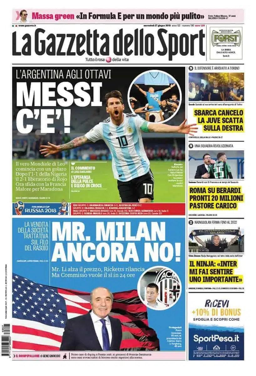 prima pagina gazzetta dello sport mercoledi 27 giugno 2018