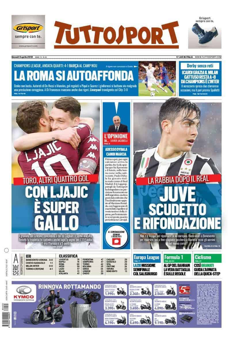 prima pagina tuttosport 5 aprile 2018