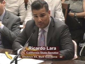 Senator Ricardo Lara testifies on behalf of SB 1383 near the end of the legislative session.