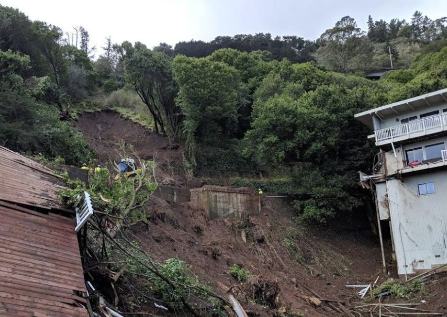 February 2019 landslide photo from City of Sausalito, an example photo CGS scientists can use in their map.