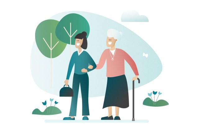 illustration aide à domicile avec femme âgée