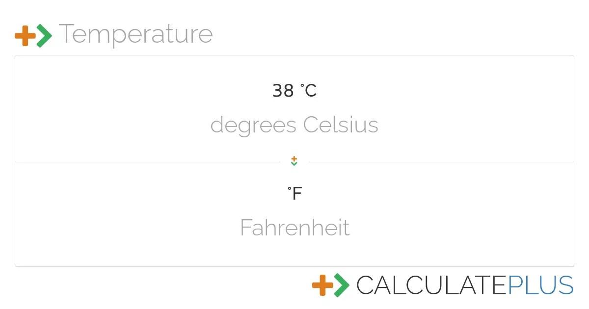 Conversion of 38 degrees Celsius to Fahrenheit ...