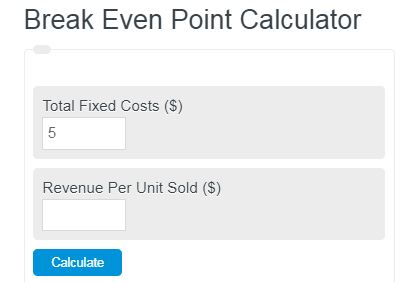 break even point calculator