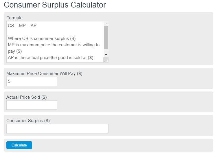 consumer surplus calculator