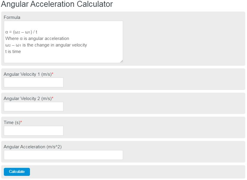 angular acceleration calculator