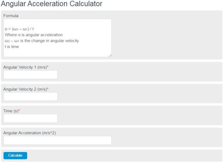 angular acceleration calculator