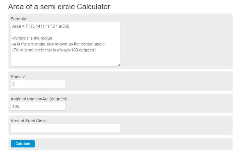 area of a semi circle calculator