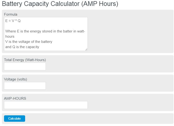 battery capacity calculator
