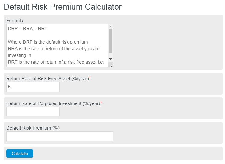 default risk premium calculator