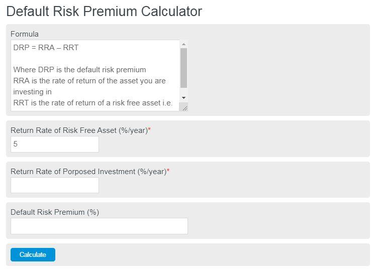 default risk premium calculator