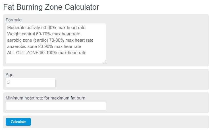 fat burning zone calculator