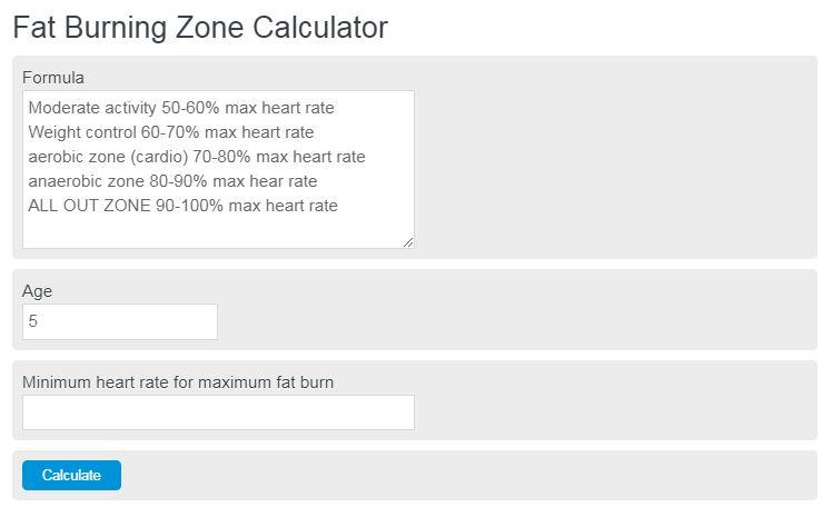 fat burning zone calculator