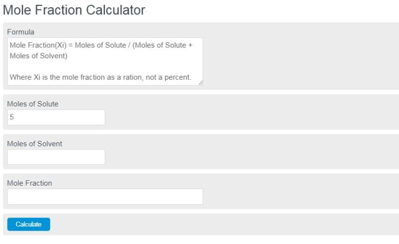 mole fraction calculator