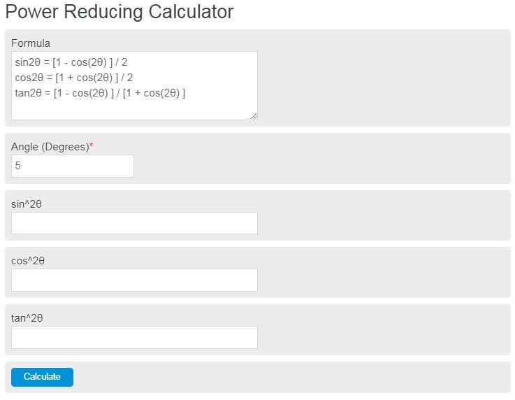 power reducing calculator