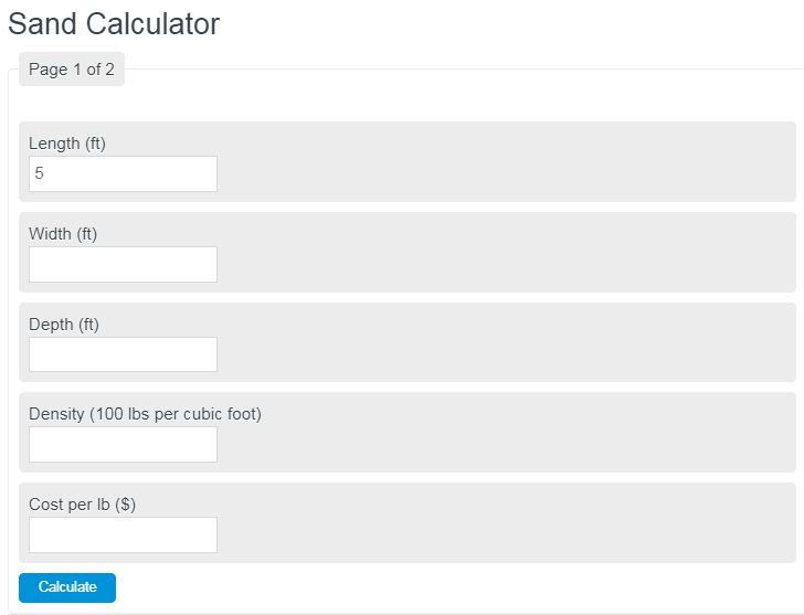 sand calculator