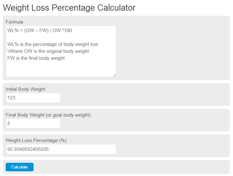 weight loss percentage calculator