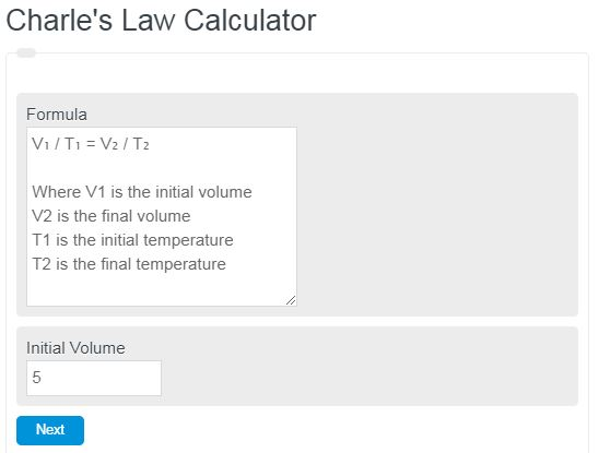 Charle's Law Calculator