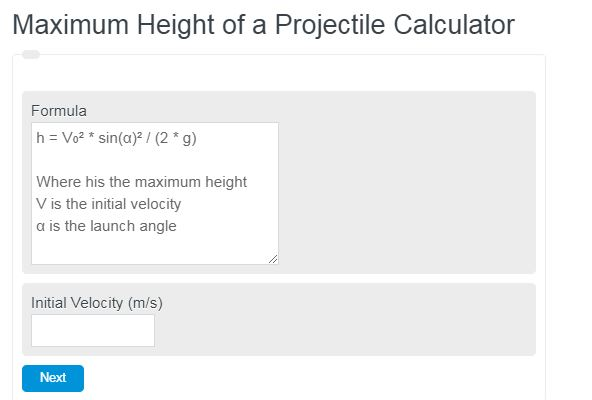 Maximum Height of a Projectile Calculator