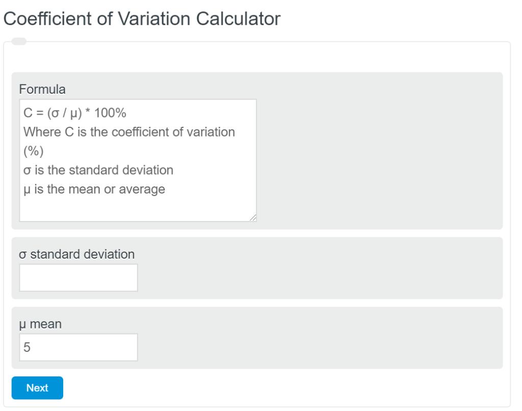 Coefficient of Variation Calculator