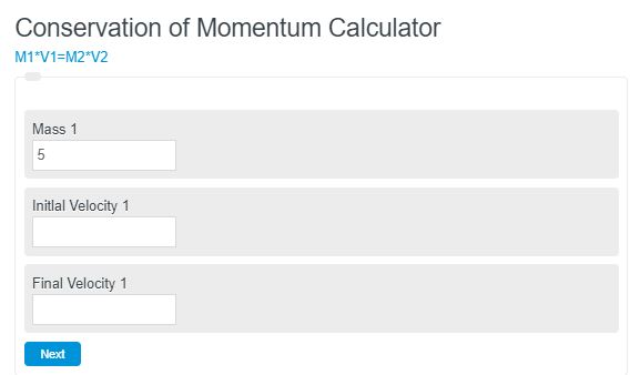 conservation of momentum calculator