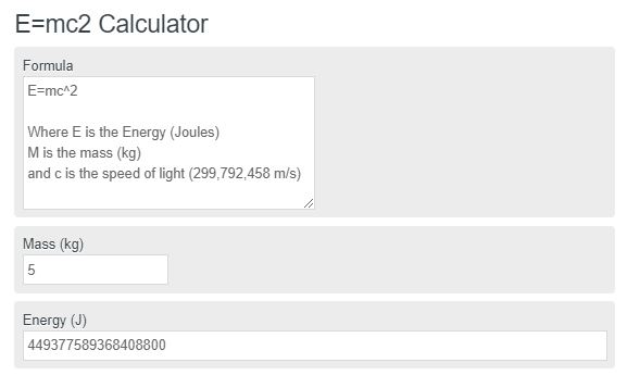 E=mc2 Calculator