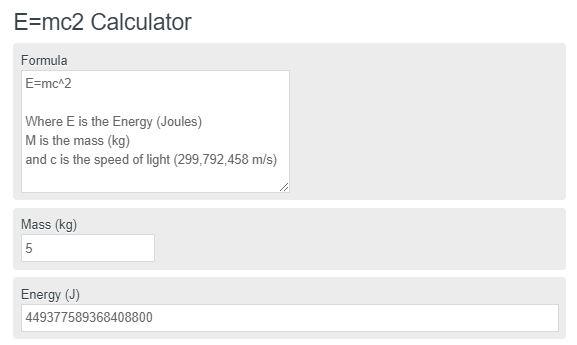 E=mc2 Calculator