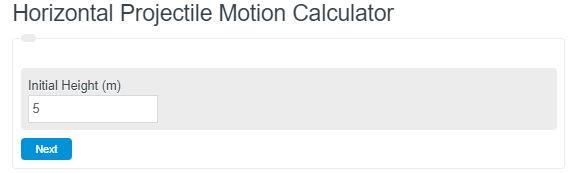 Horizontal Projectile Motion Calculator