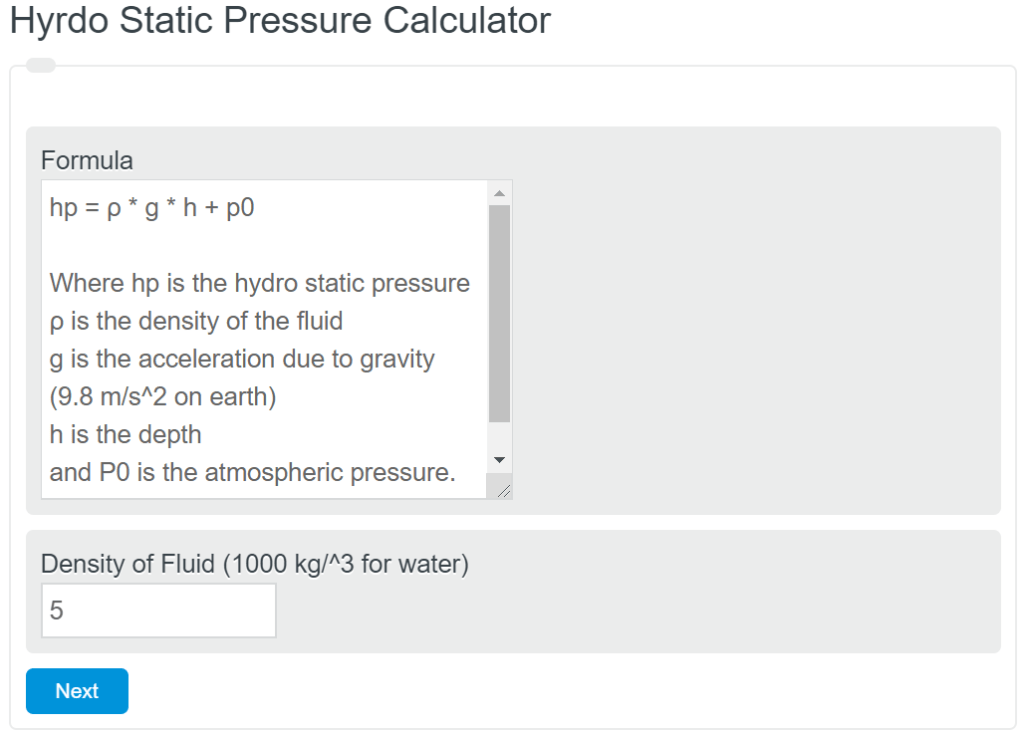 Hydrostatic Pressure Calculator