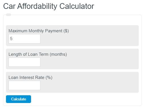 Car Affordability Calculator Calculator Academy