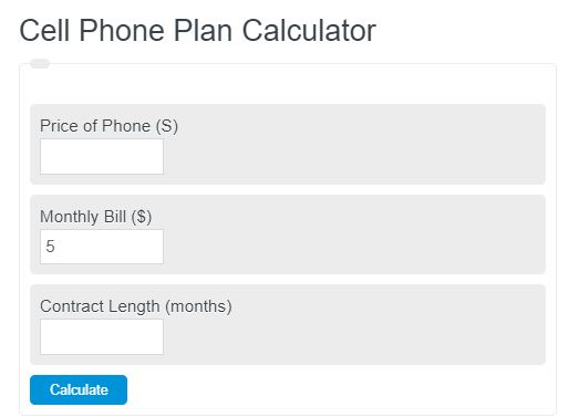 cell phone plan calculator