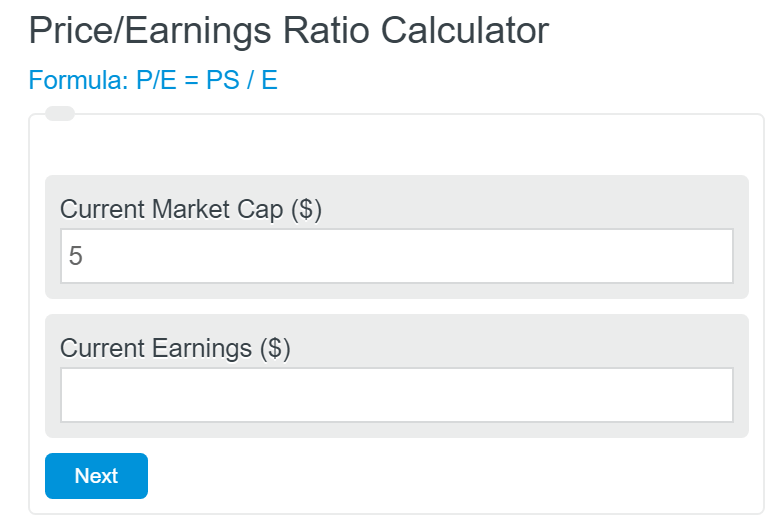 price/earnings ratio calculator