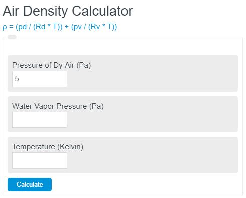 air density calculator