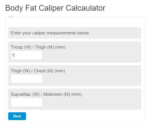 body fat caliper calculator