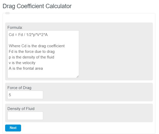 drag coefficient calculator