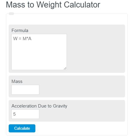 mass to weight calculator