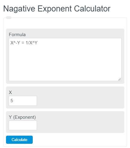 negative exponent calculator