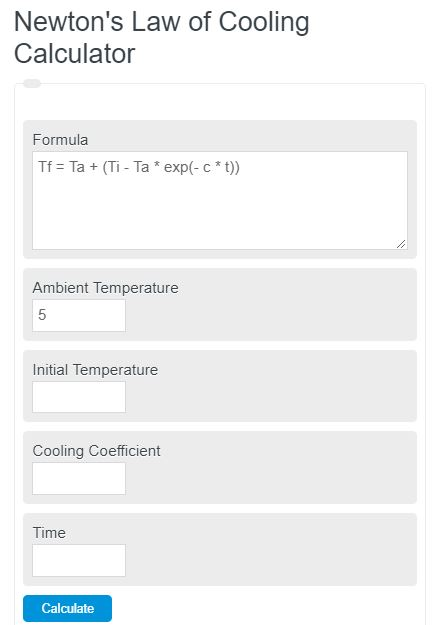 newont's law of cooling calculator