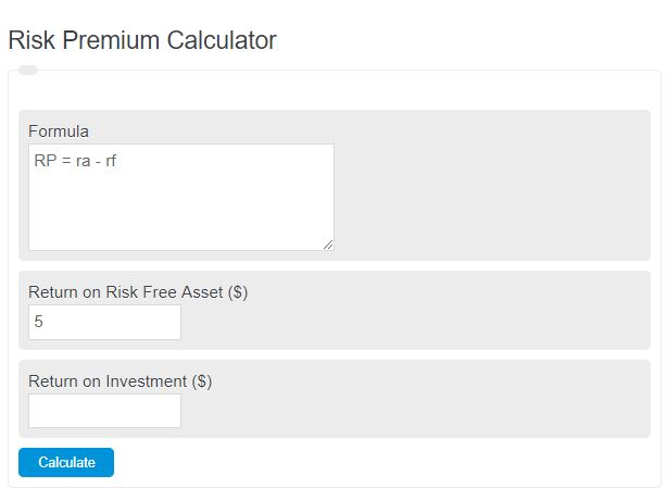 risk premium calculator