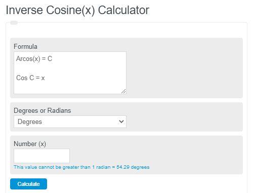 inverse cosine calculator