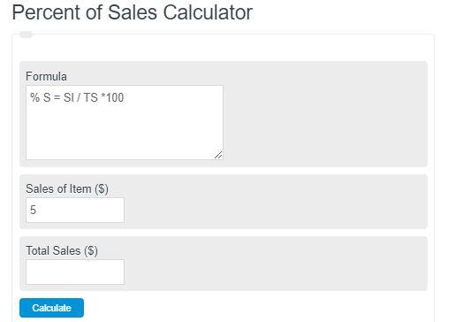 percent of sales calculator