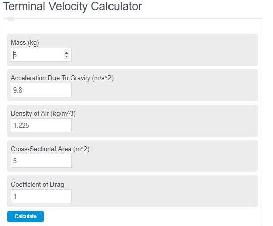 terminal velocity calculator