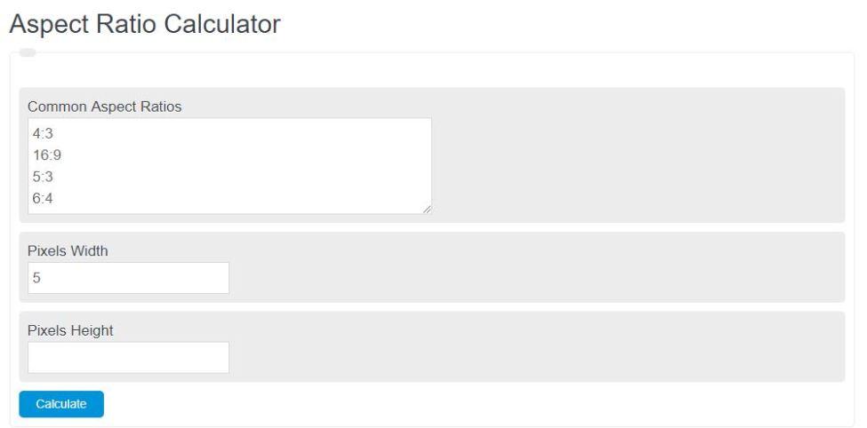 aspect ratio calculator
