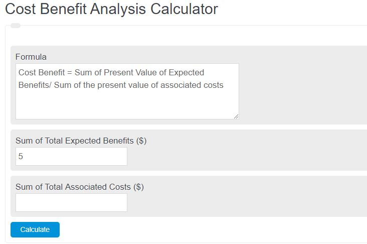 cost benefit analysis calculator
