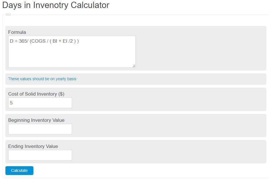 days in inventory calculator