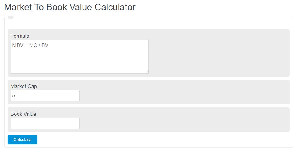 market to book value calculator